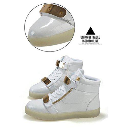 (Present:kleines Handtuch)JUNGLEST® (TM) 7 Farbe USB Aufladen LED Leuchtend Sport Schuhe Sportschuhe Sneaker Turnschuhe für Unis Weiß Lackleder High-Top