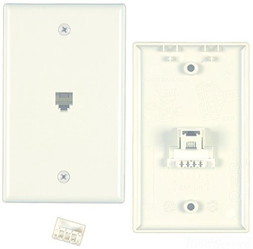 Outlet Jack/F-Coax Connector, White, 1 Port, USOC Wiring, Termination IDC, 6 Position, 6 Conductor