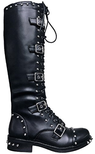 Pazzle Bambi Women Military Combat Spikes Studs Lace Up Buckle Knee High Boots Black 7.5