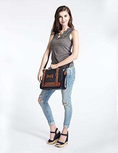 ECOSUSI Faux Leather Vintage Small Messenger Purse School Satchel Bag Blue