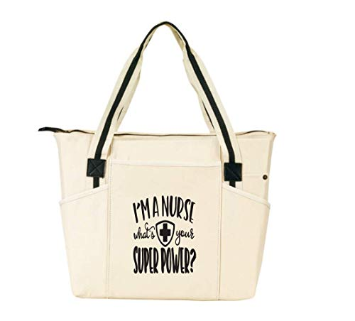 I'm a Nurse, What's Your Superpower Natural - Large Nursing Tote Bags for Nurses - Perfect for Work,...