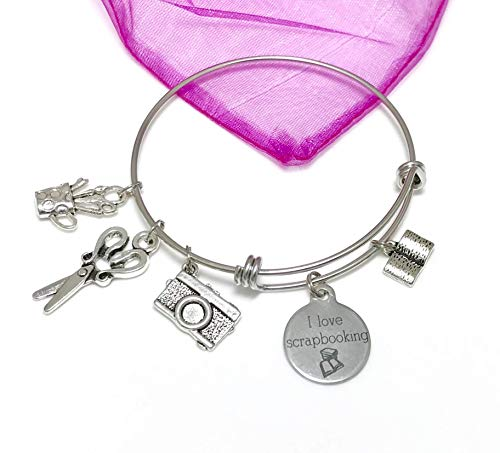 - Scrapbooking Charm Bracelet, Book, Scissors, Camera, Stainless Steel Expandable Bangle Gift for Her