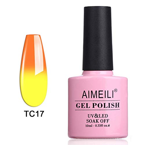 AIMEILI Soak Off UV LED Temperature Color Changing Chameleon Gel Nail Polish - Sunset (TC17) 10ml -