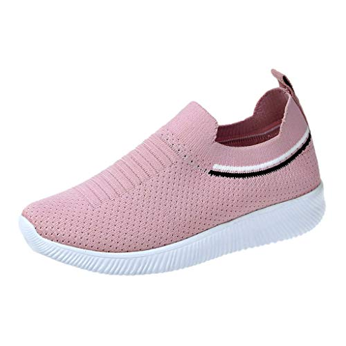 (Women's Fashion Sneakers Breathable Mesh Casual Sport Shoes Comfortable Walking Shoes (Pink -4, US:5.0))
