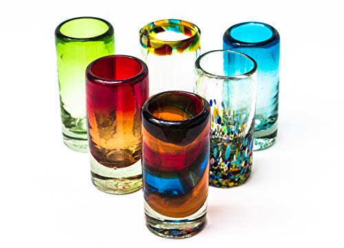 Mexican Tequila Glass Shot – 6 Pack Novelty Design Multicolor Recycled Glassware Set Unique Artisan Crafted Dishwasher Safe Lead Free Hand Blown Vodka Scotch Whiskey Wine tots 2 oz. party supplies