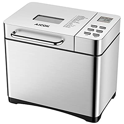 Aicok Bread Machine, 19 Programs Bread Maker With 15 Hours Delay, 3 Loaf Sizes, 3 Crust Colors, Gluten Free Whole Wheat Breadmaker, Stainless Steel, Silver