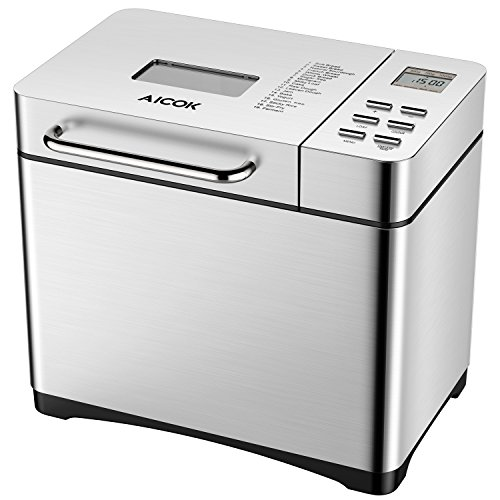 Automatic Bread Maker, Aicok 2 Pound Stainless Steel Bread Maker Machine with 19 Programs Cycles, Fruit Nut Dispenser, 3 Loaf Sizes, 3 Crust Colors, 15 Hours Delay, FDA Certified, Brushed Chrome