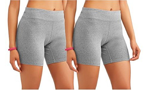 - Danskin Now Women's Core Active Dri-More Bike Shorts, 2 Pack, Grey, Large