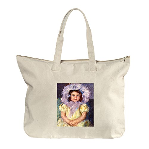 Margo In White (Cassatt) Canvas Beach Zipper Tote Bag - Brilliant Margo