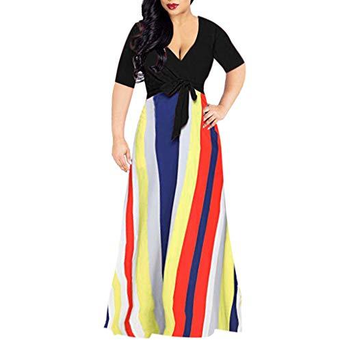 [해외]여성 반 소매 줄무늬 꽤 깊은 V 넥 맥시 파티 칵테일 클럽 긴 드레스 / Women Half Sleeve Stripes Pretty Deep V Neck Maxi Party Cocktail Club Long Dress