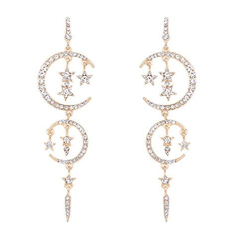 Temperament Of Fashion Long Stars And The Moon Diamond Earrings (Gold) (Gold Diamond Moon Charm)