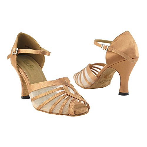 """Gold Taube Schuhe 50 Shades Of Tan Tanzkleid Schuhe Collection-III, Komfort Abend Hochzeit Pumps: Ballroom Schuhe für Latein, Tango, Salsa, Swing, Kunst von Party Party (2,5 """", 3"""", 3,5 """"Heels) 2719 Braun Satin & Fleisch Mesh"""