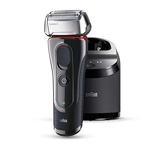 Braun Series 5 5070cc elektrischer Rasierer / Rasierapparat (mit Reinigungsstation (CleanundCharge), Elektrorasierer einsetzbar als Trockenrasierer und Nassrasierer (Wet und Dry)), schwarz/rot