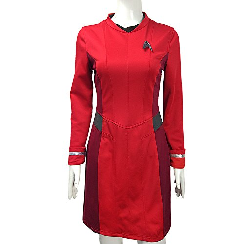 [BFJ Star Trek Beyond Nyota Uhura Luxury Red Cosplay Dress Uniform Costume] (Red Star Trek Dress)
