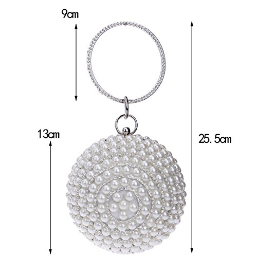 Clutch Ball Party Wedding Bags Beaded Women's Purse Pearls Evening Shape Black Handbag TCqaY7Rwx