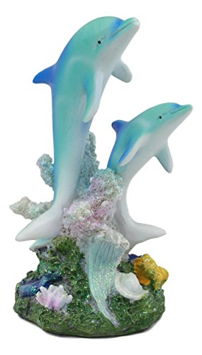 Ebros Sea World Two Bottlenose Dolphins Swimming By Coral Reefs Statue 5.5
