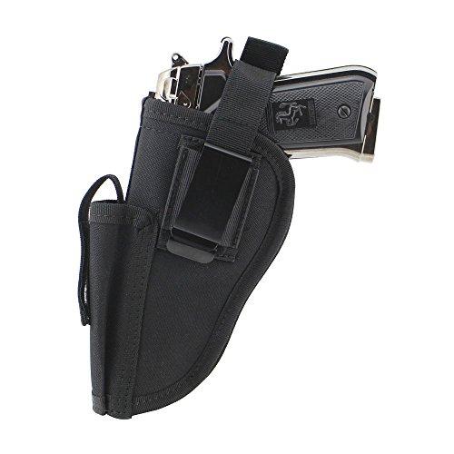 Depring Tactical Waist Pistol Holster Every Day Carry Waist Belt Handgun Holster Right Hand Left Hand Interchangeable Gun Holster with Magazine Slot for Medium Compact Subcompact Hand Guns Black