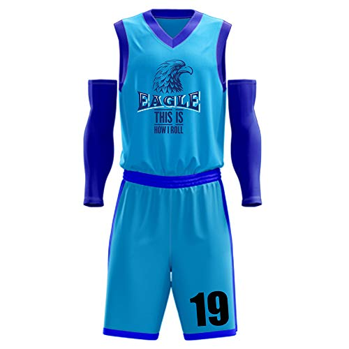 1Bests Mens Basketball Uniforms Sets Team Jersey and Shorts Training Breathable Tank Top Suit Custom Print (LDZK-Sky blue-01, 2XL)