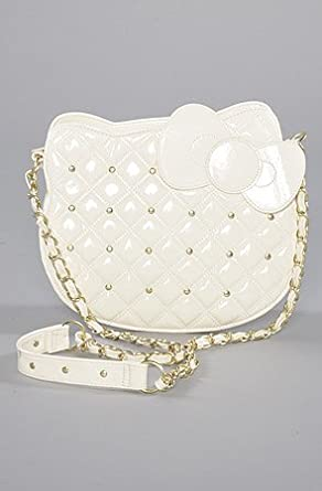 645ef7fba2 Image Unavailable. Image not available for. Color  Hello Kitty Ivory Quilted  Stud Head Crossbody Bag w  Chain Strap