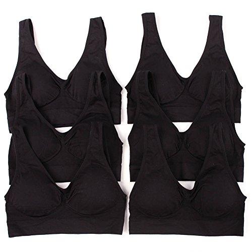 Cheap Sofra Women's 6 Pack Of Seamless Padded Sports Bras-All Black