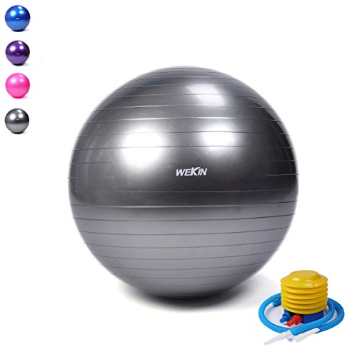 Wekin Extra Thick Exercise Stability Ball,Office Ball Chair, Balance trainer Ball, Birthing Ball with Quick Pump for Fitness, Stability, Balance & Yoga , Anti-Burst, 2000lbs (Office and Home)