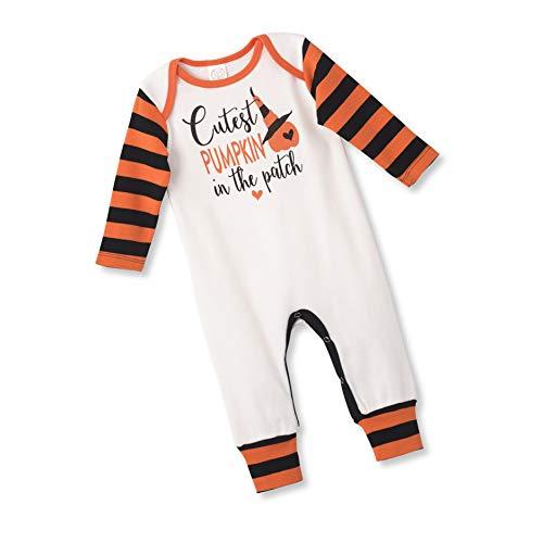 Tesa Babe Halloween Pumpkin Romper for Newborn & Toddlers Baby Boys & Girls, Multi (Orange Cutest Pumpkin, 0-3 Months)
