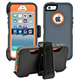 AlphaCell Cover compatible with iPhone 5/5S/SE | 2-in-1 Screen Protector & Holster Case | Full Body...
