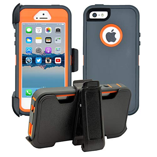 AlphaCell Cover compatible with iPhone 5/5S/SE | 2-in-1 Screen Protector & Holster Case | Full Body Military Grade Protection with Carrying Belt Clip | Protective Drop-proof Shock-proof
