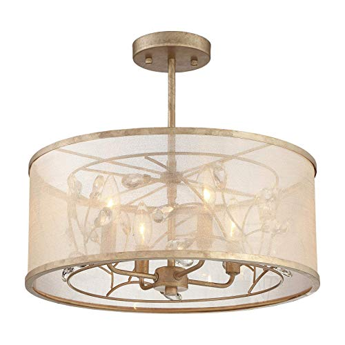 Minka Lavery Semi Flush Mount Ceiling Light 4434-252 Sara's Jewel Lighting Fixture, 4-Light 240 Watts, Champaign ()