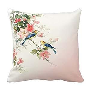 Amazon.com: Vintage Love Birds Blush Pink White Throw Pillow Case: Home & Kitchen