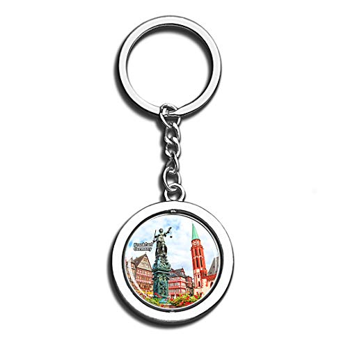 Frankfurt Roman Forum Germany Beauty 3D Crystal Creative Keychain Spinning Round Stainless Steel Key Chain Ring Travel City Souvenir Collection