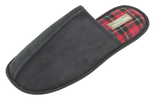 Cozeez Mens Slippers, Cozy Scuff Mule, Easy Slip on Slip Off Clog,Black Red Plaid, Mens Size 10 to 13