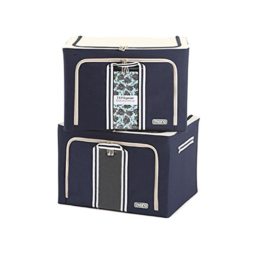 (KANOBOX Polyester Foldable Wire Frame Storage Box 2Pack 2 Door 66L Navy)