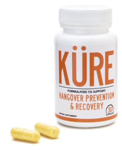 Hangover Pill- KÜRE Hangover Prevention and Recovery- 30 Capsules (15 Servings) Made in the USA- 100% Satisfaction Guarantee