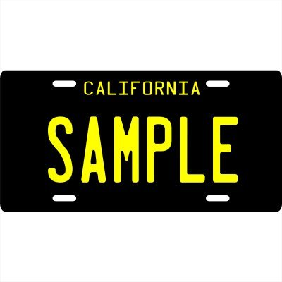 """Your Name Your State Custom Metal License Plate - Choose from all 50 States (California Black 1960's, 6"""" x 12"""" Standard Thickness (.030""""))"""