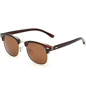 Joopin Semi Rimless Polarized Sunglasses Women Men Brand Vintage Glasses Plaroid Lens Sun Glasses (Brown)