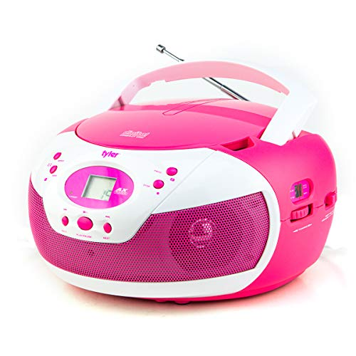 Tyler Portable Neon Pink Stereo CD Player with AM/FM Radio and Aux & Headphone Jack Line-in (TAU105-NPK) Disney Princess Cd Boombox