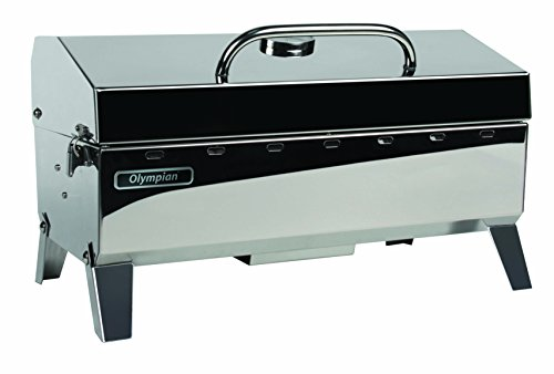 - Camco Olympian 4500 Stainless Steel Portable Gas Grill Connects To Low Pressure Supply On RV, Includes RV Mounting Bracket And Folding Tabletop Legs - 160