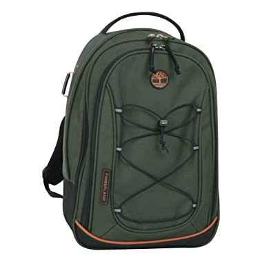 Timberland Luggage Claremont 17-Inch Backpack Upright Carry On Bag, Olive/Orange, One Size