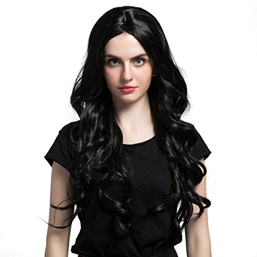 LOUSHI Long Loose Wavy Syntheic Wig Front Wig Curly Full Natural Hair Wigs Women - Jet Black Nude