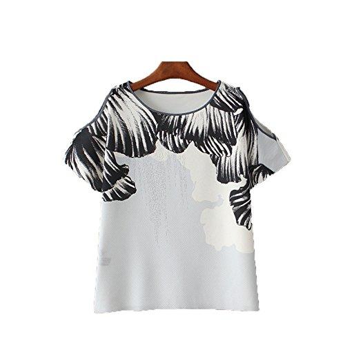 Mujeres Tops Manga Verano de de Abierto Redondo de Las Casual Camiseta Cielo OMAS Juniors Camisa Camisetas Cuello a Corta z75vEw