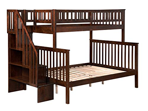 (Woodland Staircase Bunk Bed, Antique Walnut, Twin Over Full)