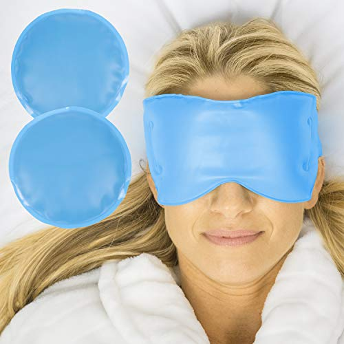 Arctic Flex Cold Eye Mask - Gel Ice Pack for Cool Sleeping, Dry Night Treatment - Reusable Hot Spa Therapy for Sleep, Skin Puffiness, Migraine, Soothing Headache - Soft Cooling Heating Compress Cover ()