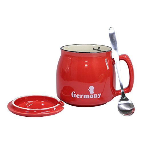 Ceramic Coffee Mug Milk Tea Cup with Lid and Stainless Spoon, Small Mouth 12oz Gift for Women and Men, Red Mugs with Germany (Coffee Wide Ceramic Mug Base)