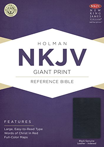 Movement Black Leather - NKJV Giant Print Reference Bible, Black Genuine Leather Indexed