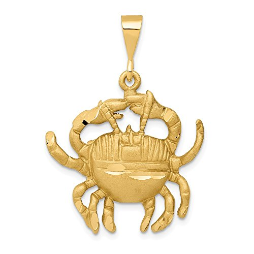 14k Yellow Gold Large Cancer the Crab Zodiac Pendant 14k Gold Cancer Crab