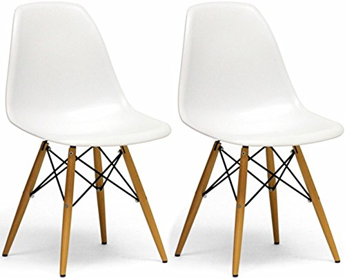 Mod Made Mid Century Modern Armless Paris Dining Side Chair with Natural Wood Legs for Dining Room Living Room or Kitchen- White (Set of 2) (Cheap Replica Chairs)