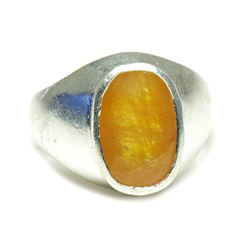 (55Carat Natural Yellow Sapphire Silver Ring For Men 6 Carat Chakra Healing Size 4,5,6,7,8,9,10,11,12,13)