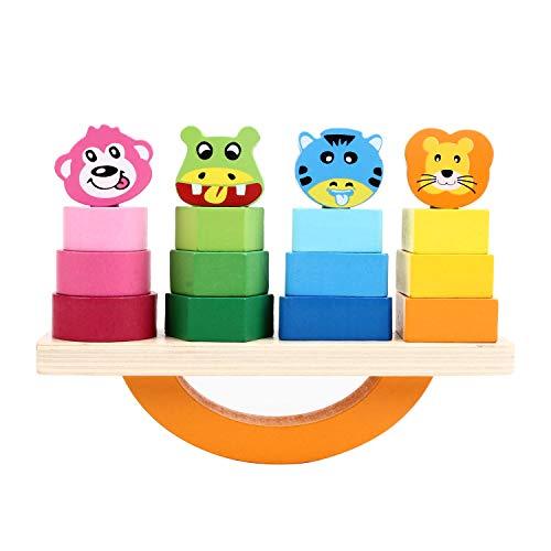 f449a0b7c951b2 FlyCreat バランスゲーム つみき 木のおもちゃ 幼児 積み木 16ピース 知育玩具 教育玩具 ブロック