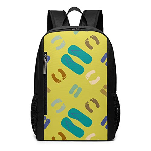 Slippers and Footprints School Travel Casual Daypack Backpack for Business College Women Men Laptop Large Computer Bag Polyester